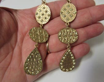 FREE SHIPPING! Gold and Gemstone Hammered Metal Dangle Drop Earrings-Elegant Gold Earrings