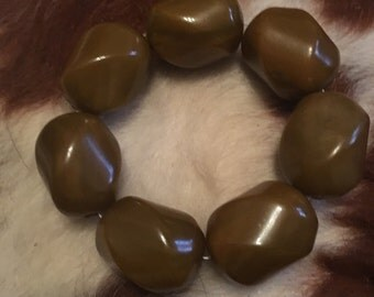 Vintage Bakelite stretch bracelet dark butterscotch colored