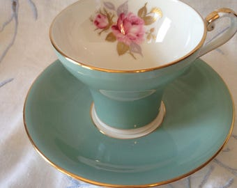 Aynsley corset green tea cup and saucer