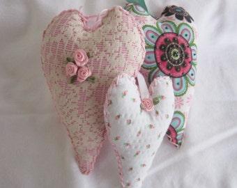 Shabby Chic Hearts-Handmade Heart Ornament-Cottage Chic Heart Ornaments-Shabby Chic Home Accent-Embellished Shabby Chic Hearts