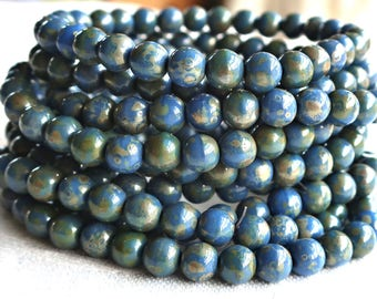 30 6mm Opaque Cobalt Blue Picasso Czech glass druks, smooth round druk beads, C40125