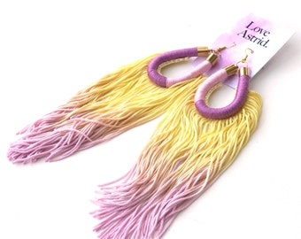Hand dyed Ombre Yellow Purple Tassel Earrings, Maxi Earrings Statement Jewelry For Her, Extra Long Fringe Earrings for Boho Chic / T-BOZ