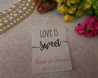 Shimmer pearl love is sweet tag - Love is sweet tags  - Wedding favor tag - Personalized wedding- love tags - set of 25 to 300 pieces