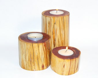 Cedar Candle Holders Natural edge, Reclaimed Tree Branch, (Set of 3) Rustic Wedding Centerpieces, Wood Home decorations, Mother's day gift