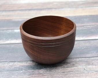 Medium Black Walnut Wood Bowl, Handmade Wooden Bowl, Food Safe, Hand Turned Wood Bowl, Thick Walled Solid Walnut Bowl, Handcrafted