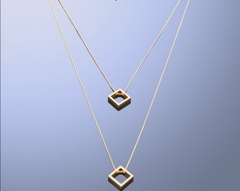Squares Necklace Long Geometric Necklace with Square Pendant Geometric Jewelry Unique Necklace Mathematics Jewelry Christmas gift for me