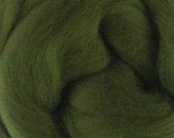 Extra fine Merino wool roving, Ivy green, 19 micron, 100 grams/3.5 oz.