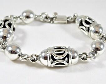 Vintage Sterling Silver Birdcage Bracelet
