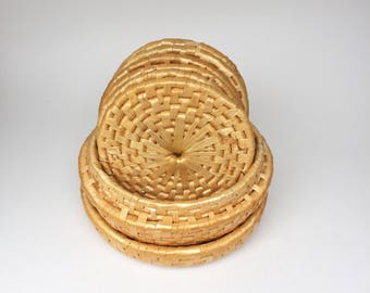 Vintage Woven Bohemian Coasters. Set of (6) with Matching Basket