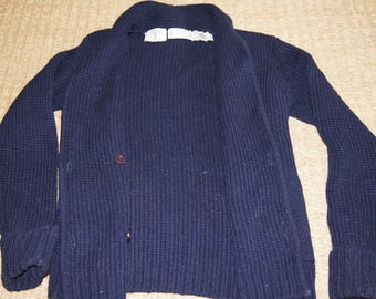 Vintage 1990's - Saks Fifth Avenue Wool Sweater in Navy, Button Up - size smal