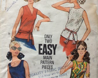 Butterick 3318 vintage 1970's misses blouse sewing pattern size 16 bust 38