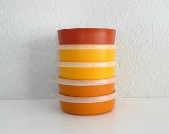 Orange and Yellow Tupperware Bowls