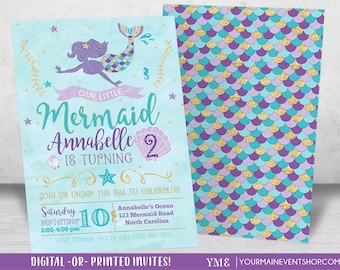 Mermaid Birthday Invitation, Mermaid Invitation, Under The Sea Party Invite, Teal Purple Gold