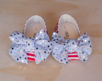 Baby shoes, Toddler Shoes, Christmas Shoes, Red and White Stripes Shoes