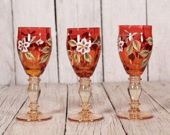 Set van 3 Vintage Shot glazen, gekleurde glazen, gekleurd glaswerk, drinkglazen, koppelen van aperitief glas, glaswerk, jaren 60 drank serveren