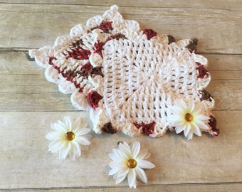 Cotton Crochet Dishcloth, Ready to Ship, White Crochet Washcloth Trio, Cotton Crocheted Washcloth, Cotton Dishcloths, Crocheted Dishcloths