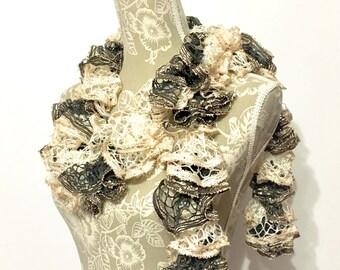Beige Ruffle Scarf, Scarf, Crochet Ruffle Scarf, Black Scarf, Gold Crochet Scarf, Sashay Scarf, Handmade Scarf, Frilly Scarf, Ruffled Scarf