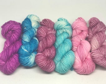 Set of 6 DK Mini Skeins 100% Superwash Merino 20 grams each Approx. 45 yards per mini skein 120 grams total