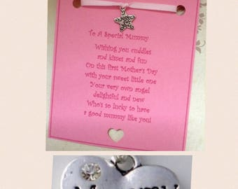 Happy first Mother's Day wish charm poem card gift present