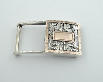 "Vintage Two-Toned Solid Sterling Silver ""Jalisco"" Belt Buckle  #JALISCO-BK3"