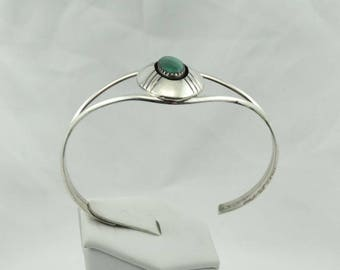 "Vintage ""SR"" Hallmarked Sterling Silver Malachite Shadow Box Cuff Bracelet Southwest Native American Design #SHADOW-CF1"