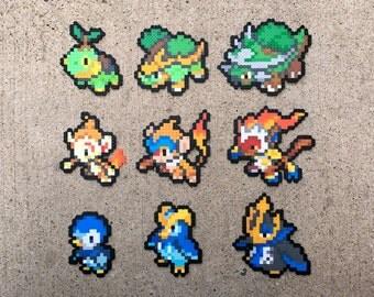 Gen 4 Sinnoh Starters | Tutwig | Grotle | Torterra | Chimchar | Monferno | Infernape | Piplup | Prinplup | Empoleon | Pokemon Perler