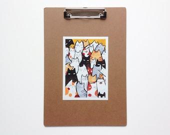 Cats art print 7x5