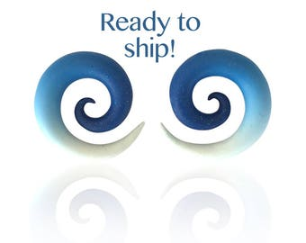 Ready to Ship!  00g Ombre Transition Glitter Blue and White Spiral Gauges