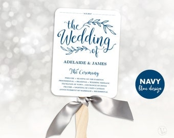 Navy Blue Wedding Program Template, Fan Wedding Program, Wedding Fans, Editable text, 5x7, Vintage Wedding VW00