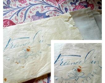 "Delightful Antique Pure French ""France Lin"" Linen Square in Original Wrapper,an Unique Vintage French Treasure,c.1900's"