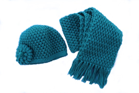 Ready to Ship**Free Shipping/Crochet Hat Scarf Set/Aqua Teal Green Hat Scarf/Turquoise Green Scarf Hat/Medium Long Adult Scarf with Fringe