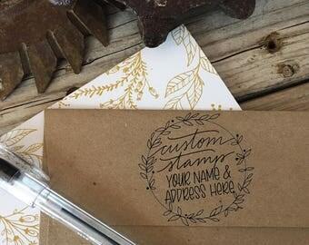 Custom, Hand Lettered WREATH, Return Address, Custom Rubber Stamp, Wood Handle, Modern Calligraphy Stamp