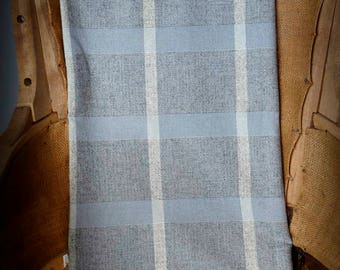 Gray blue white plaid textured vintage wool -