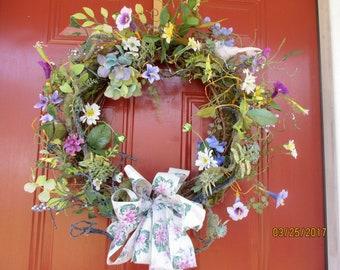Spring Door Wreath- Summer Wreath for the front door-Wild Flowers Wreath-Easter door hanger-Mothers Day gift-Large Grapevine Wreath-bird