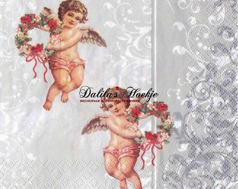 Set of 3(three)napkins  Angels  /Flowers Silver for decoupage, decoupage under glass,scrapbooking and other art and crafts