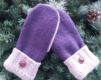 Wool Recycled Sweater Mittens, Wool Mittens, Purple Recycled Sweater Mittens, Wool Sweater Mittens - RSM000138