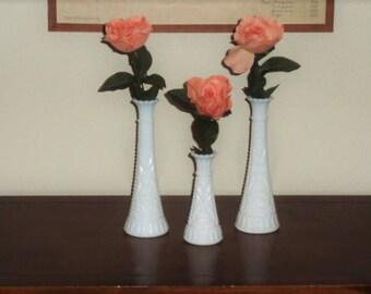 Vintage Milk Glass Vase Set of 3 White Glass Flower Vase Mid Century Cottage Shabby Chic Wedding Home Decor