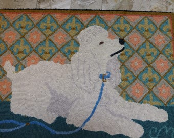 CLAIRE MURRAY Hand Hooked Rug White Poodle Dog Beige And Coral 100 Wool