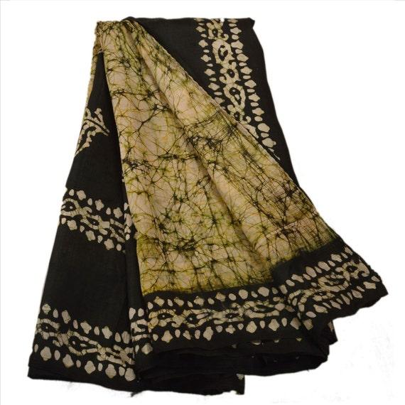 KK Printed Saree Pure Silk Craft Fabric Cream Batik By