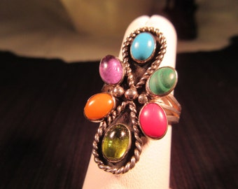 Cool Tribal Sterling Silver Multi Gemstone Ring - 7