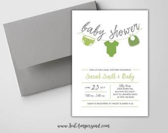 Clothesline baby shower invitations Etsy