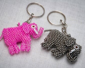 Elephant Keychain, Beaded