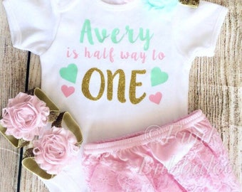 Personalised Half Birthday Outfit - Bodysuit, Headband, Barefoot Sandals, Bloomers - Photoshoot, Baby Girl 6 Month Gift
