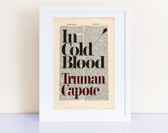 In Cold Blood by Truman Capote Print on an antique page, book cover art