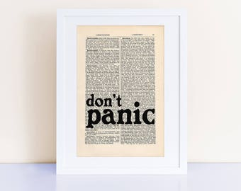 Hitchhiker's Guide to the Galaxy Quote Print on an antique page, don't panic, Douglas Adams