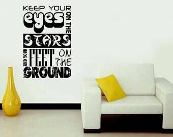 Keeep Your Eyes On The Stars, Handmade Sticker, Decal, Laptop Sticker, Wall Sticker, Interior Sticker, Window Sticker, Car Sticker