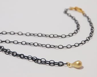 Oxidized Sterling Silver Chain Necklace (Black) With Gold Vermeil Teardrop Pendant