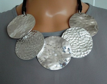Silver Hammered  Disc Statement Necklace