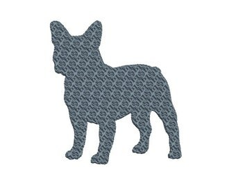 French Bulldog Embroidery Design in Fancy Fill Stitch Embroidery Design - 2 Sizes - INSTANT DOWNLOAD