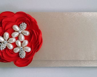 Gold and Red Bridal Clutch with Rhinestones ~ Wedding Clutch, Bridesmaid Clutch ~ Bouquet Clutch- Evening Bag ~ Mother of the Bride, Prom